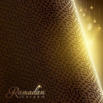 Arabischer geometrischer hintergrundentwurf des ramadan kareem-islamischen grußes