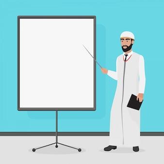 Arabischer geschäftsmann bei einer präsentation. cartoon-vektor-illustration.