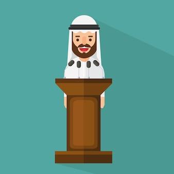 Arabischer geschäftsmann, der an der tribüne steht