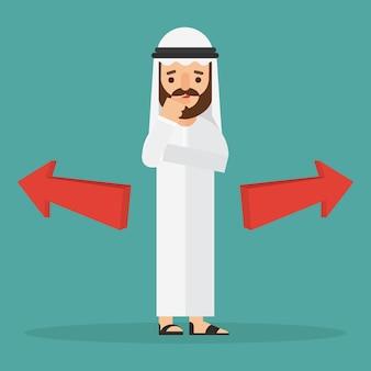 Arabischer geschäftsmann, der an wahl denkt