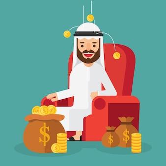 Arabischer geschäftsmann, der auf sofa im hintergrundgeld sich entspannt