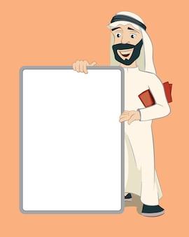 Arabischer geschäftsmann, der aufrechtes leeres weißes plakat hält. zeichentrickfigur. person islam, bekanntmachung und geschäft