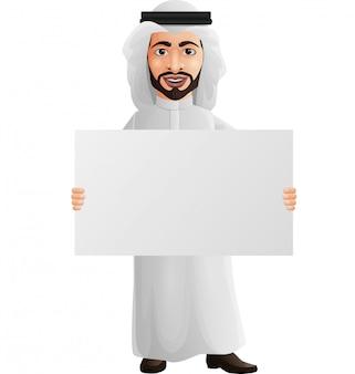 Arabischer geschäftsmann, der ein leeres plakat hält