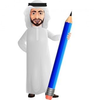 Arabischer geschäftsmann, der einen bleistift hält
