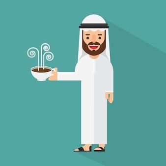 Arabischer geschäftsmann, der einen tasse kaffee hält