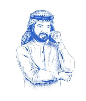 Arabischer geschäftsmann, der kopfhörer verwendet. call center. kundendienst. helpdesk, hand gezeichnete skizze vektor-illustration.