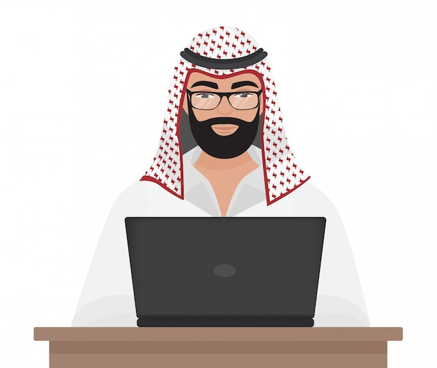Arabischer geschäftsmann, der mit laptop arbeitet