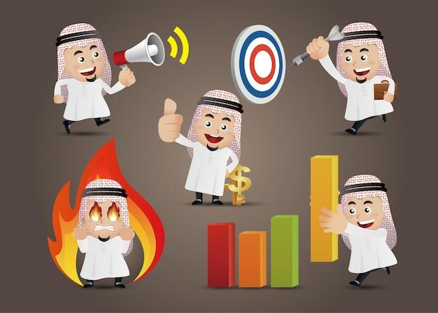 Arabischer geschäftsmann in verschiedenen aktionen vektor cartoon zeichen gesetzt