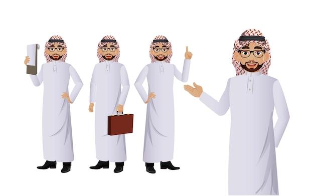 Arabischer geschäftsmann mit verschiedenen posen. vektor