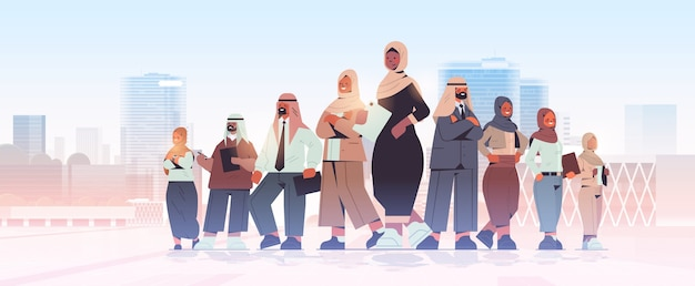 Arabischer geschäftsmann-teamleiter, der vor arabischem geschäftsmann-führungskonzept-stadtbildhintergrund in voller länge illustration steht