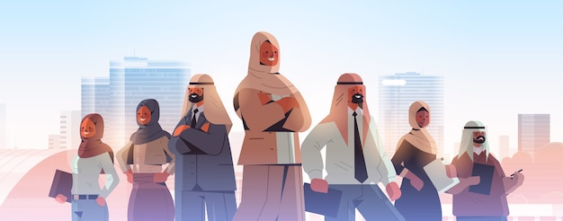 Arabischer geschäftsmann-teamleiter, der vor arabischer geschäftsmann-führungskonzept-stadtbildhintergrundillustration steht