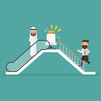 Arabischer geschäftsmann und geschäftsmann, die rolltreppe verwenden