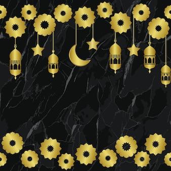 Arabischer goldener laternengoldhalbmond und nahtloses muster der sterne auf schwarzem marmorhintergrund