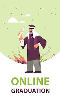 Arabischer graduierter student arabischer männlicher graduierter feiert akademisches diplom grad ausbildung universitätszertifikat konzept vertikale volle länge vektorillustration