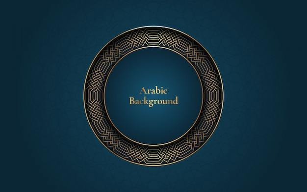 Arabischer hintergrund mit goldenem rahmen