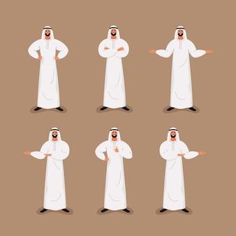 Arabischer hübscher bärtiger geschäftsmann in der traditionellen gesellschaftskleidung in den verschiedenen haltungen.