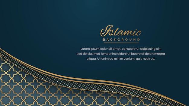 Arabischer islamischer eleganter blauer goldener luxusrahmen-verzierungshintergrund