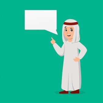 Arabischer junge mit chatblase