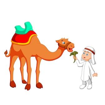 Arabischer junge mit kamel cartoon