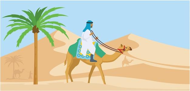 Arabischer kerl, der seine kameltrogowüste reitet