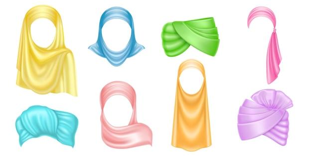 Arabischer kopfschmuck mit farbigem turban und hijab