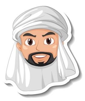 Arabischer mann cartoon-aufkleber auf weißem hintergrund