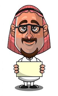 Arabischer mann-charakter, der einen banner-karikaturvektor hält