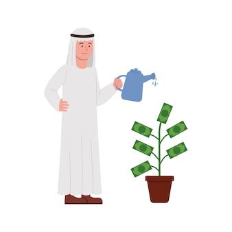 Arabischer mann, der geld-pflanzen-karikatur wässert