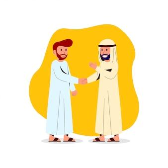 Arabischer mann der illustration zwei rütteln hand