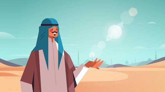 Arabischer mann, der in der wüste glücklich arabischen kerl in traditioneller kleidung ramadan kareem heiliger monat arabische landschaft horizontale porträtillustration geht