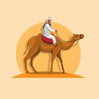 Arabischer mann, der kamel auf sandkarikaturillustration reitet