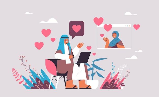 Arabischer mann, der mit frau im arabischen paar der online-dating-app plaudert, das während der virtuellen darstellung des kommunikationskonzepts der sozialen beziehung des virtuellen treffens diskutiert