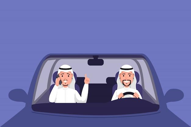 Arabischer mann, der selbstillustration fährt. moslemische männer im tauwetter, das auf vordersitz des fahrzeugs sitzt und am telefon spricht. männliche kleidung der traditionellen arabischen länder, moslemische geschäftsmänner im transport