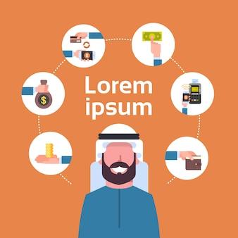 Arabischer mann des elektronischen zahlungs-konzeptes, der bewegliche geldbörsenelemente digital-geldtransaktion und e-commerce verwendet