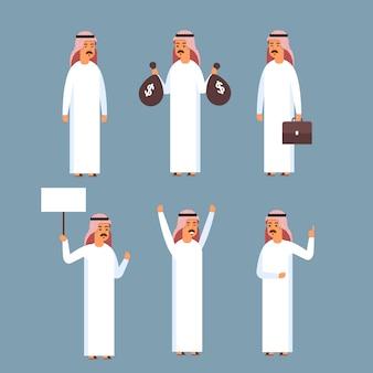 Arabischer mann eingestellt, islam-geschäftsmann, der traditionelle kleidungs-sammlung trägt