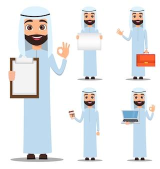 Arabischer mann in weißer kleidung