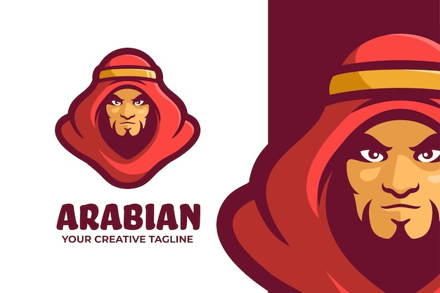 Arabischer mann maskottchen charakter logo