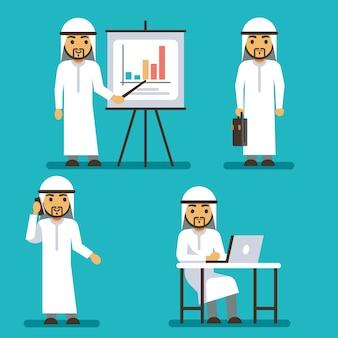 Arabischer mannvektorcharakter in den verschiedenen geschäftssituationen