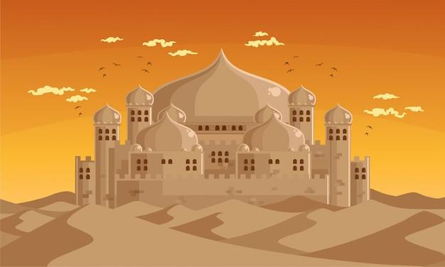Arabischer versteckter palast in der wüstenlandschaft
