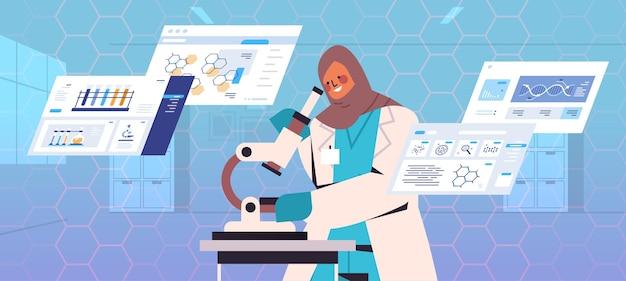 Arabischer wissenschaftler, der nach mikroskopforschern sucht, die mikrobiologische forschung im labor durchführen dna-tests gentechnik-diagnose