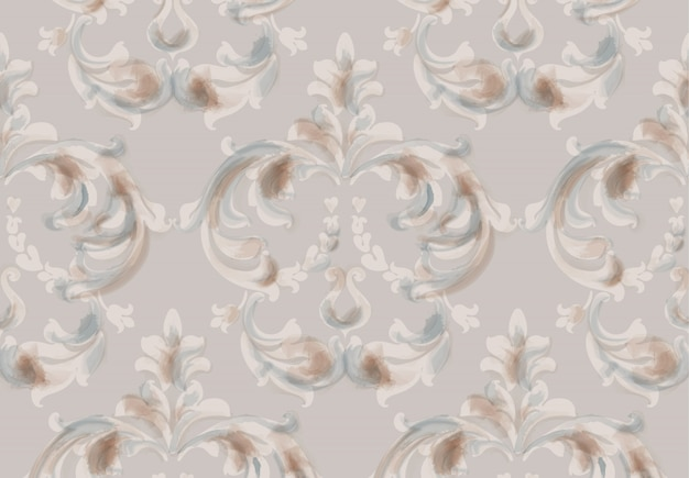 Arabisches barockes verzierungsmuster. aquarell glänzend trendige dekore