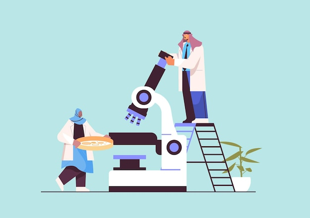 Arabisches forscherteam, das mit mikroskopforschern zusammenarbeitet, die chemische experimente im labor-molekular-engineering-konzept durchführen, horizontale vektorillustration in voller länge