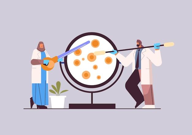 Arabisches forscherteam, das mit petrischale mit agar-bakterium-kolonie-forschern arbeitet, die chemische experimente im labor-molekular-engineering-konzept durchführen, horizontale vektorillustration in voller länge
