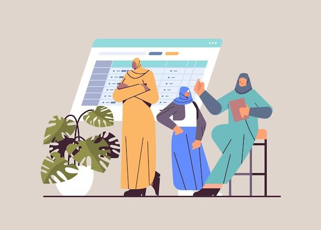Arabisches geschäftsfrauen-team, das während des firmenmeetings diskutiert, das geschäftsentwicklungs-teamwork-konzept horizontale vektorillustration in voller länge brainstorming