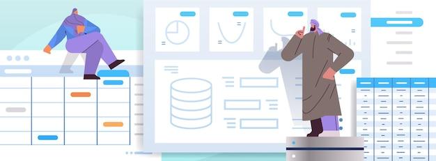 Arabisches geschäftsleute-team analysiert diagramme und grafiken datenanalyse planung unternehmensstrategie teamwork-konzept in voller länge horizontale vektorillustration