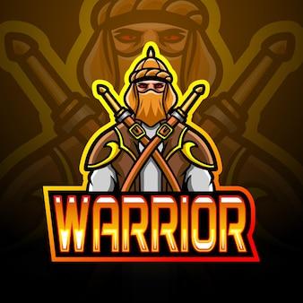 Arabisches krieger-esport-logo-maskottchen-design