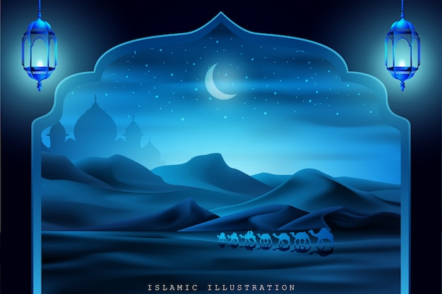 Arabisches land durch kamelen bei nacht