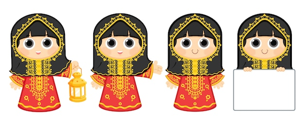 Arabisches mädchen, das ein altes traditionelles kleid in einigen arabischen golfstaaten trägt und ramadan-laterne trägt