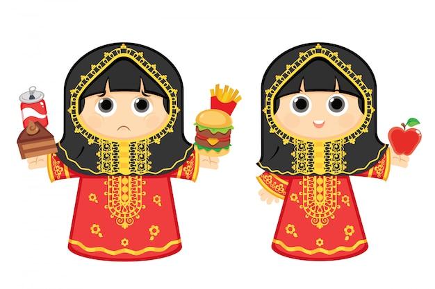 Arabisches mädchen, das gesundes essen und das andere isst, das ungesundes junk-food-vektorillustration isst
