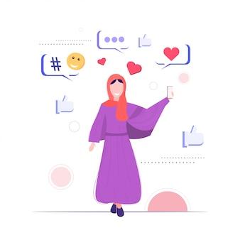 Arabisches mädchen mit online-chat mobile app soziale netzwerk chat blase kommunikationskonzept arabische frau hält smartphone skizze in voller länge